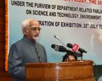 Shri M. Hamid Ansari, Hon'ble Vice President of India addressing the gathering at an event to inaugurate the 'Exhibition on Science& Technology Innovations' organized by the Parliamentary Standing Committee on Science & Technology, Environment & Forests and Rajya Sabha, in New Delhi on July 28, 2017.