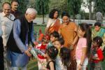 Shri M. Hamid Ansari, Vice President of India, being greeted by the childern, on the occasion of Id-Ul-Fitr, at a party hosted by him, at his residence, in New Delhi on October 14, 2007