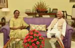 The former Speaker, Lok Sabha, Smt. Meira Kumar calling on Shri M. Hamid Ansari, Hon'ble Vice President of India, in New Delhi on August 04, 2017.