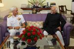 The Chief of the Naval Staff, Admiral Sunil Lanba calling on Shri M. Hamid Ansari, Hon'ble Vice President of India, in New Delhi on July 17, 2017.