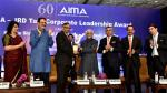 Shri M. Hamid Ansari, Hon'ble Vice President of India presenting the AIMA - JRD Tata Corporate Leadership Award to Shri N. Chandrasekaran, Chairman of Tata Sons Ltd., in New Delhi on July 18, 2017.