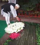 Shri M. Hamid Ansari, Vice President of India, paying floral tributes at the Samadhi of Former Prime Minister, Late Smt. Indira Gandhi, at Shakti Sthal on the occasion of her 23rd death anniversary, in Delhi on October 31, 2007