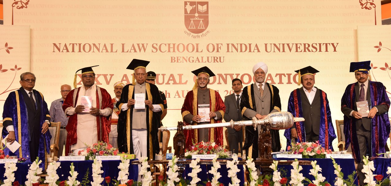 Shri M. Hamid Ansari, Hon'ble Vice President of India releasing 10 books at the 25th Annual Convocation of National Law School of India University (NLSIU), in Bengaluru on August 06, 2017. The Governor of Karnataka, Shri Vajubhai Vala, the Chief Justice of India and the Chancellor of NLSIU, Justice Jagdish Singh Kherar, the Chief Minister of Karnataka, Shri Siddaramaiah, the Minister for Law and Justice, Karnataka, Shri T.B. Jayachandra, the former Chief Justice of India, Dr. Justice (Rtd.), Rajendra Babu,