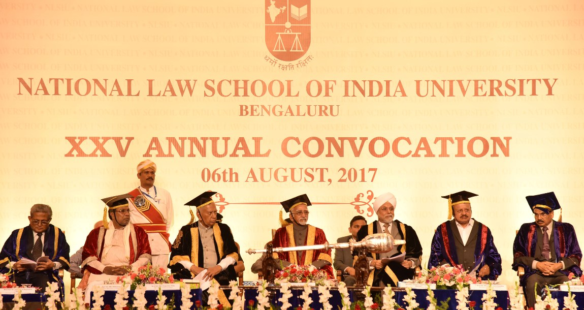 Shri M. Hamid Ansari, Hon'ble Vice President of India at the 25th Annual Convocation of National Law School of India University (NLSIU), in Bengaluru on August 06, 2017. The Governor of Karnataka, Shri Vajubhai Vala, the Chief Justice of India and the Chancellor of NLSIU, Justice Jagdish Singh Kherar, the Chief Minister of Karnataka, Shri Siddaramaiah, the Minister for Law and Justice, Karnataka, Shri T.B. Jayachandra, the former Chief Justice of India, Dr. Justice (Rtd.), Rajendra Babu, the Chairman, Bar C